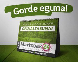 """Manifestazioa: """"Mugarik gabeko euskara, OFIZIALTASUNA"""" @ Iruñea"""