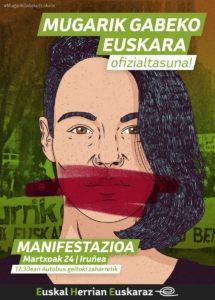 """Manifestazioa: """"Mugarik gabeko euskara, OFIZIALTASUNA"""" @ Iruñea (Autobus geltoki zaharretik)"""