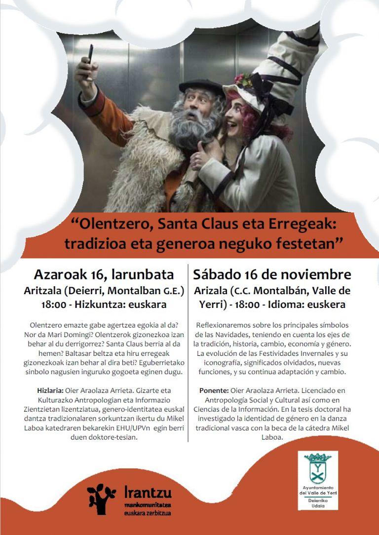 """Hitzaldia: """"Olentzero, Santa Claus eta Erregeak: tradizioa eta generoa neguko festetan"""""""