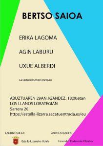 Bertso saioa: Agin Laburu, Erika Lagoma eta Uxue Alberdi @ Lizarra (Los Llanos lorategia)