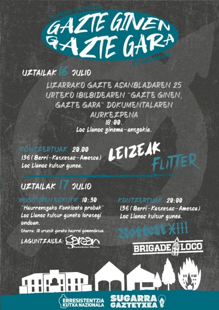 Gaztetxeak 25 urte kontzertuak: Brigade Loco, Flitter, Leizeak, Rotten XIII